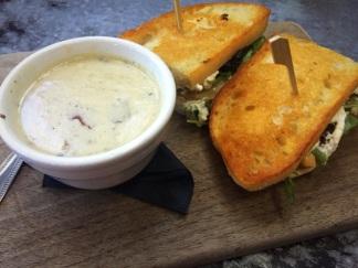 Grilled Ricotta Cheese on Sourdough w/ Potato & Leek Soup